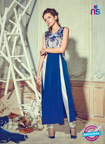 Jinaam 4007 Blue Crepe Embroidery Party Wear Suit