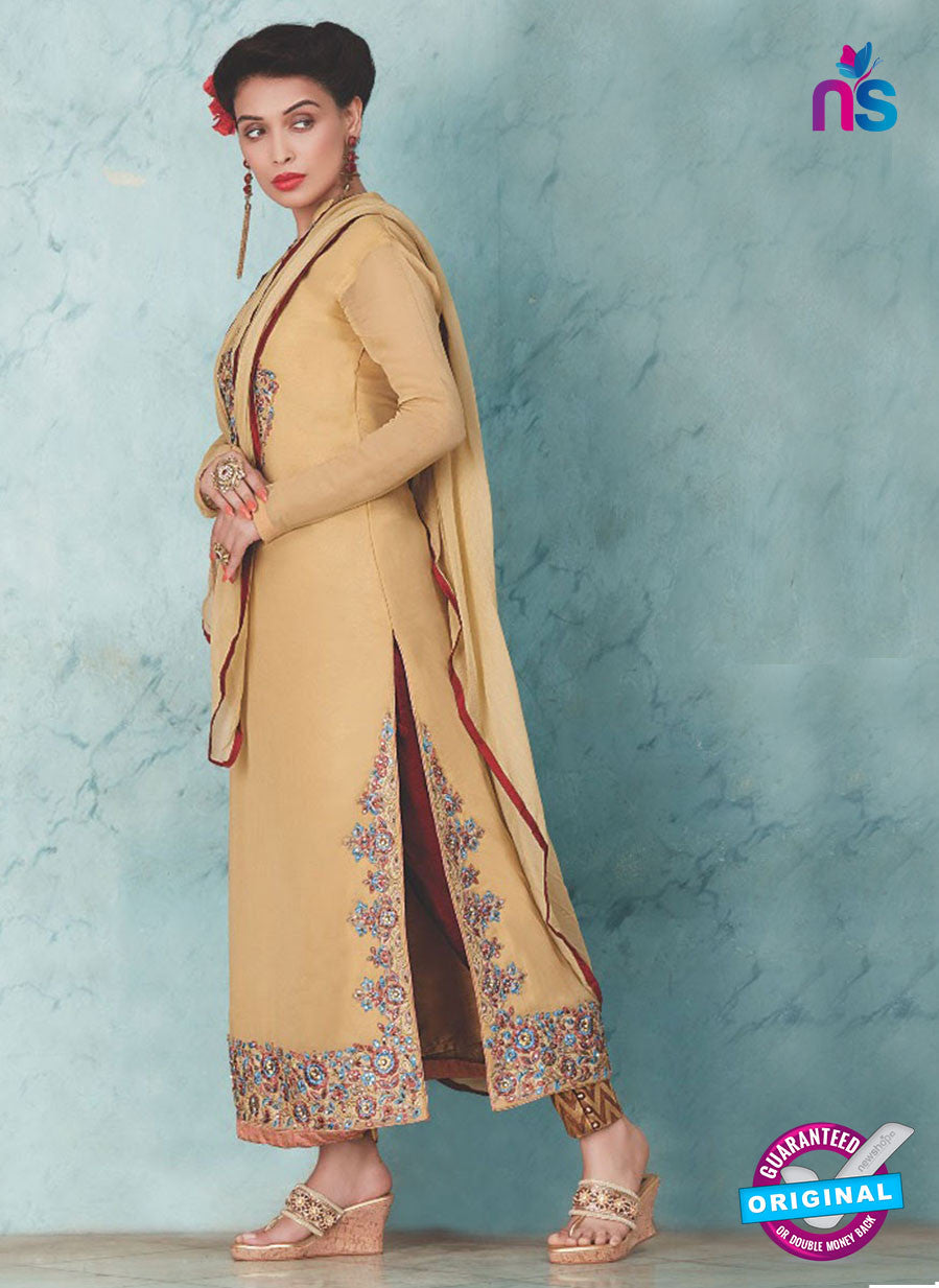 SC 13232 Beige and Brown Embroidered Georgette Designer Suit
