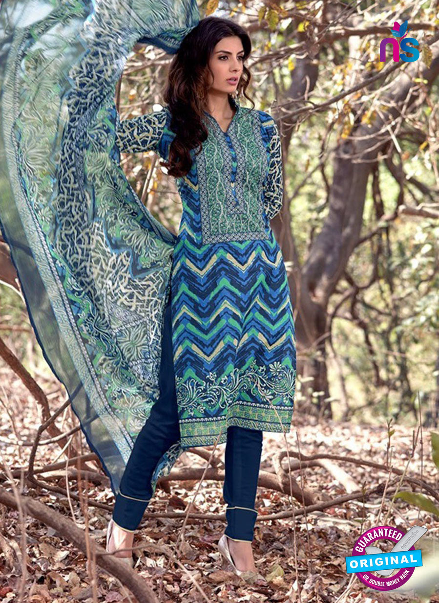 NS 12462 Multicolor and Blue Printed Cambric Suit