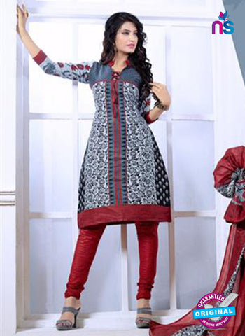 NS10075 Gray and Red Cotton  Suit