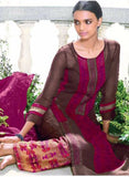 Ganga 4007 Brown & Purple Color Bemberg Georgette Designer Suit