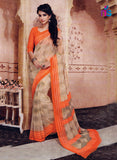 NS11208 Tan Brown and Orange Daily Wear Printed Cotton Saree