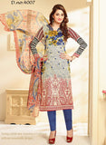 Velly 4007  Blue & Grey Color Glace Cotton Designer Suit
