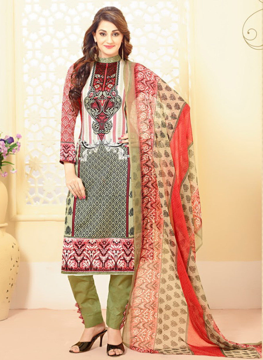 Velly 4008  Multi Color Glace Cotton Designer Suit
