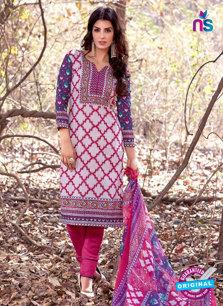 NS 12459 White and Magenta Printed Cambric Suit