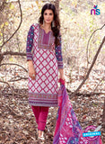 NS 12459 White and Magenta Printed Cambric Suit Online