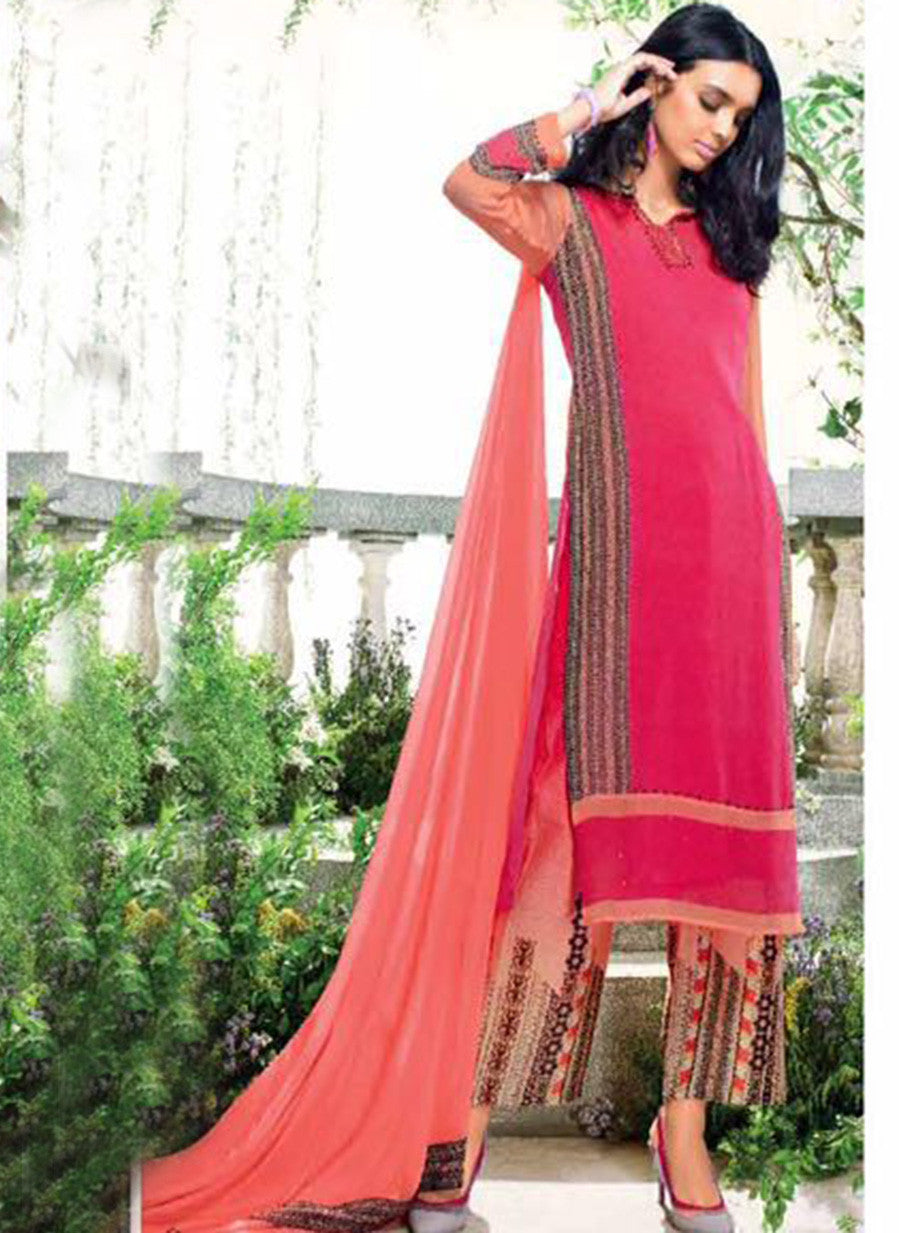 Ganga 4008 Peach Color Bemberg Georgette Designer Suit