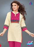 SC 13779 Beige Cotton Exclusive Fancy Semi Stitched Kurti