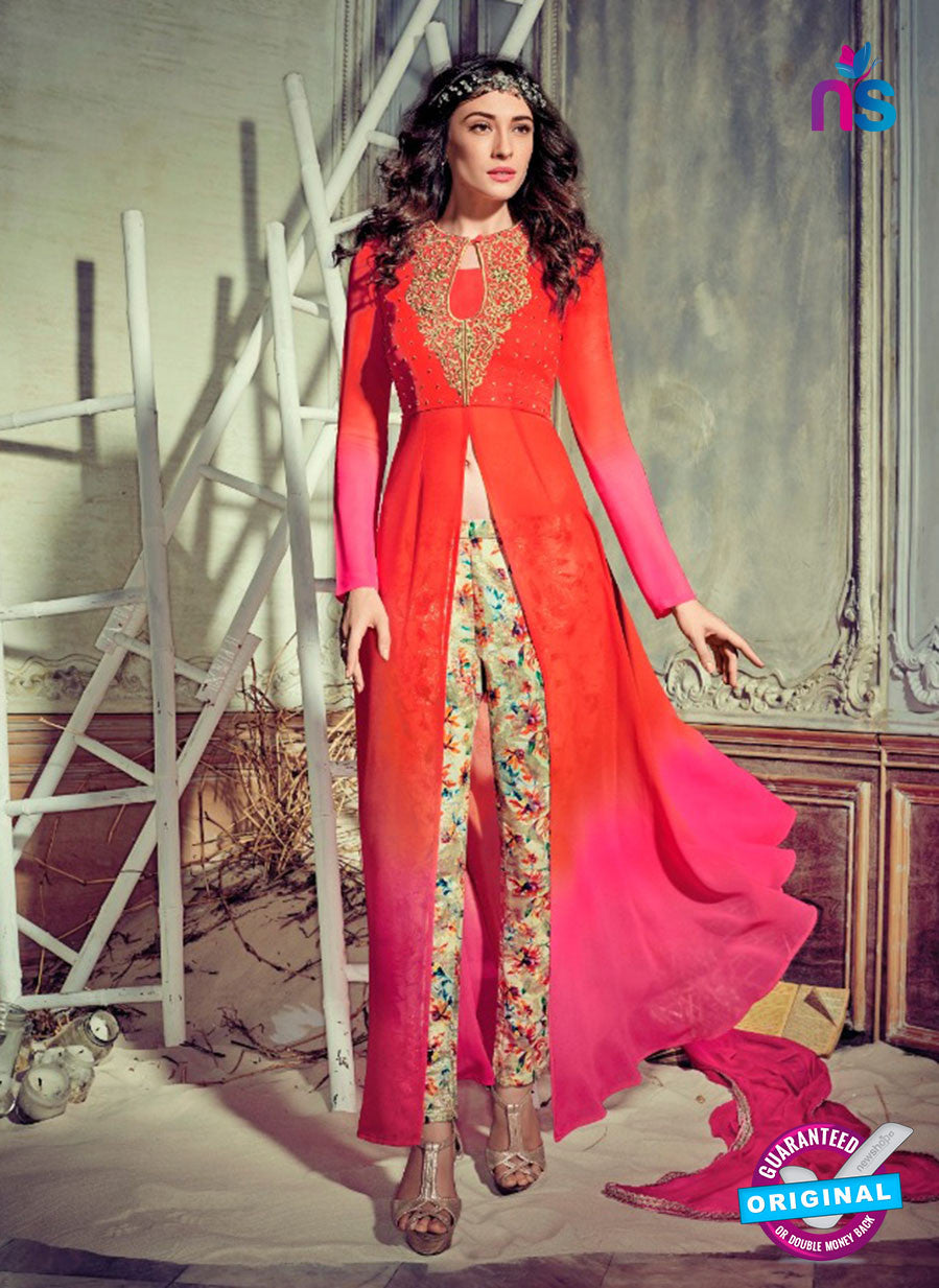 Jinaam 4009 Red and Pink Georgette Embroidery Party Wear Suit