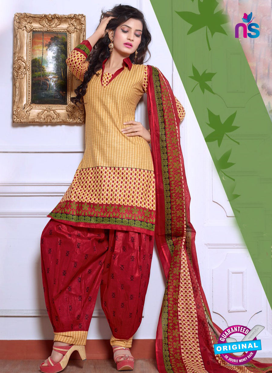 NS10076 Brown and Red Cotton Suit