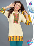 SC 13777 Beige Cotton Exclusive Fancy Semi Stitched Kurti