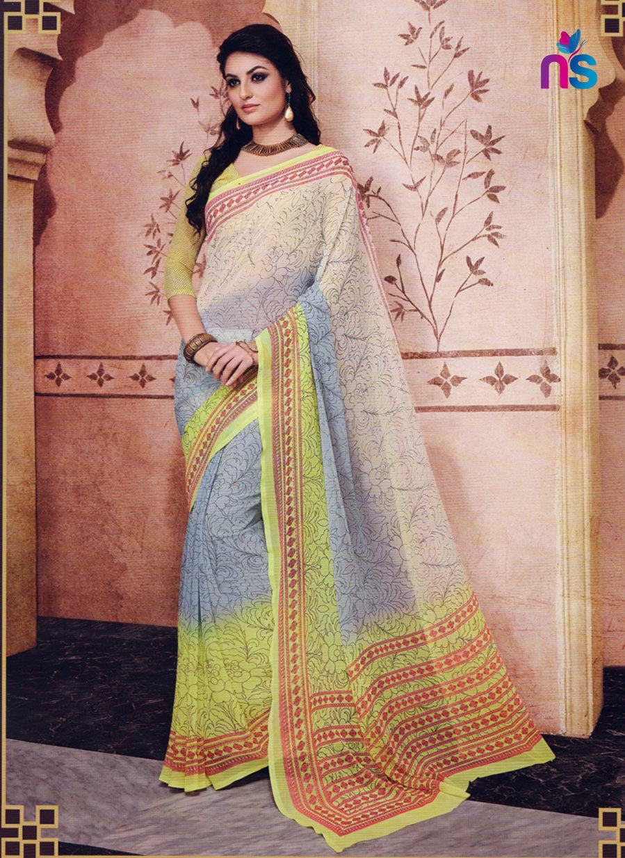 NS11209 Gray and Yellow Daily Wear Printed Cotton Saree