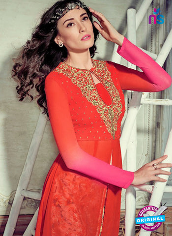 Jinaam 4009 Red and Pink Georgette Embroidery Party Wear Suit Online