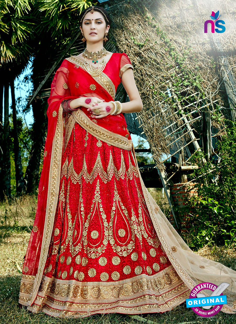 AZ 2210 Red Dupion Silk Embroidered Party Wear Lehenga