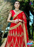 AZESZ 2210 Red Dupion Silk Embroidered Party Wear Lehenga