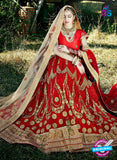 AZ 2211 Red Dupion Silk Embroidered Party Wear Lehenga