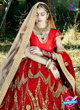 AZESZ 2211 Red Dupion Silk Embroidered Party Wear Lehenga