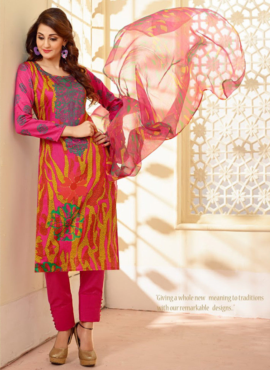 Velly 4010  Pink Color Glace Cotton Designer Suit