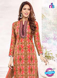 SC 13388 Red and Brown Embroidered Pure Cotton Straight Suit