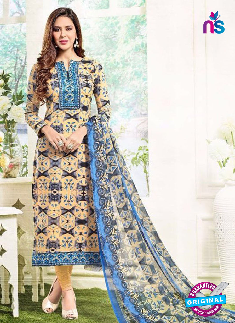 SC 13389 Beige and Multicolor Embroidered Pure Cotton Straight Suit