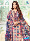 SC 13387 Beige and Blue Embroidered Pure Cotton Straight Suit