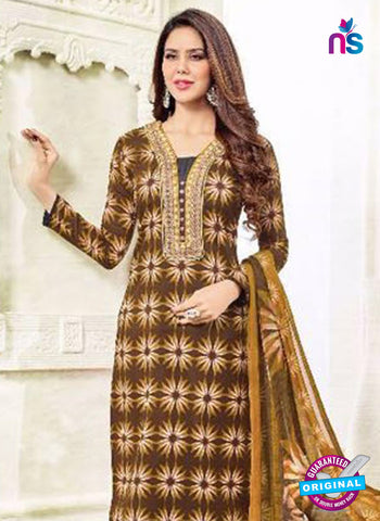 SC 13386 Brown Embroidered Pure Cotton Straight Suit Dress Material