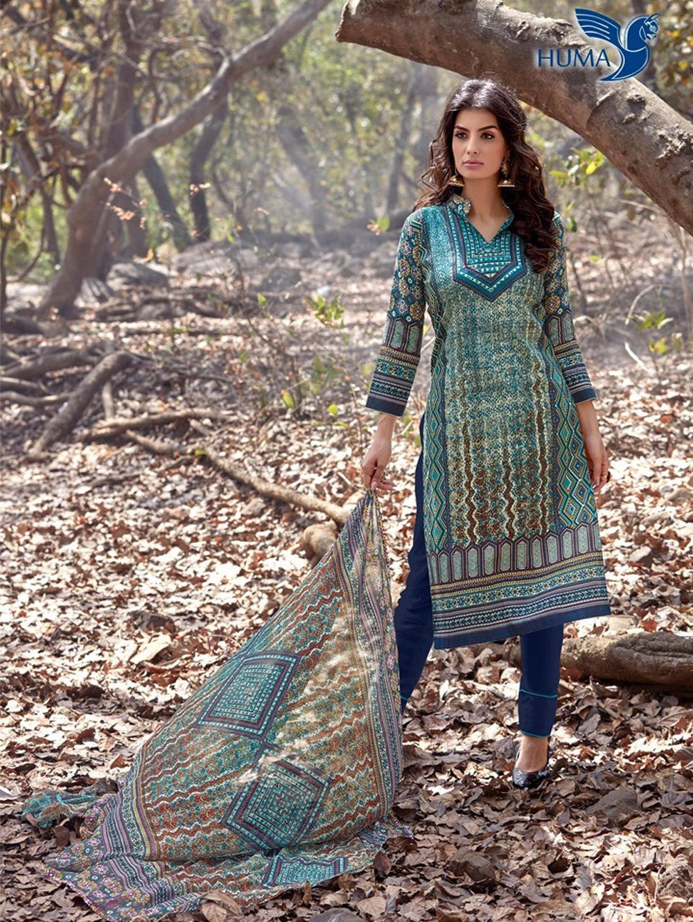 NS 12458 Multicolor and Blue Printed Cambric Suit