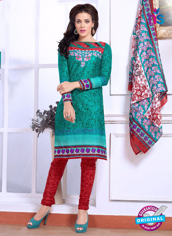 NS10077 Green and Red Cotton Suit