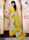 NS11210 Yellow and Ivory Daily Wear Printed Cotton Saree