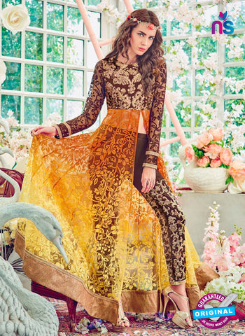 Jinaam 4011 Brown and Yellow Brasso Embroidery Party Wear Suit