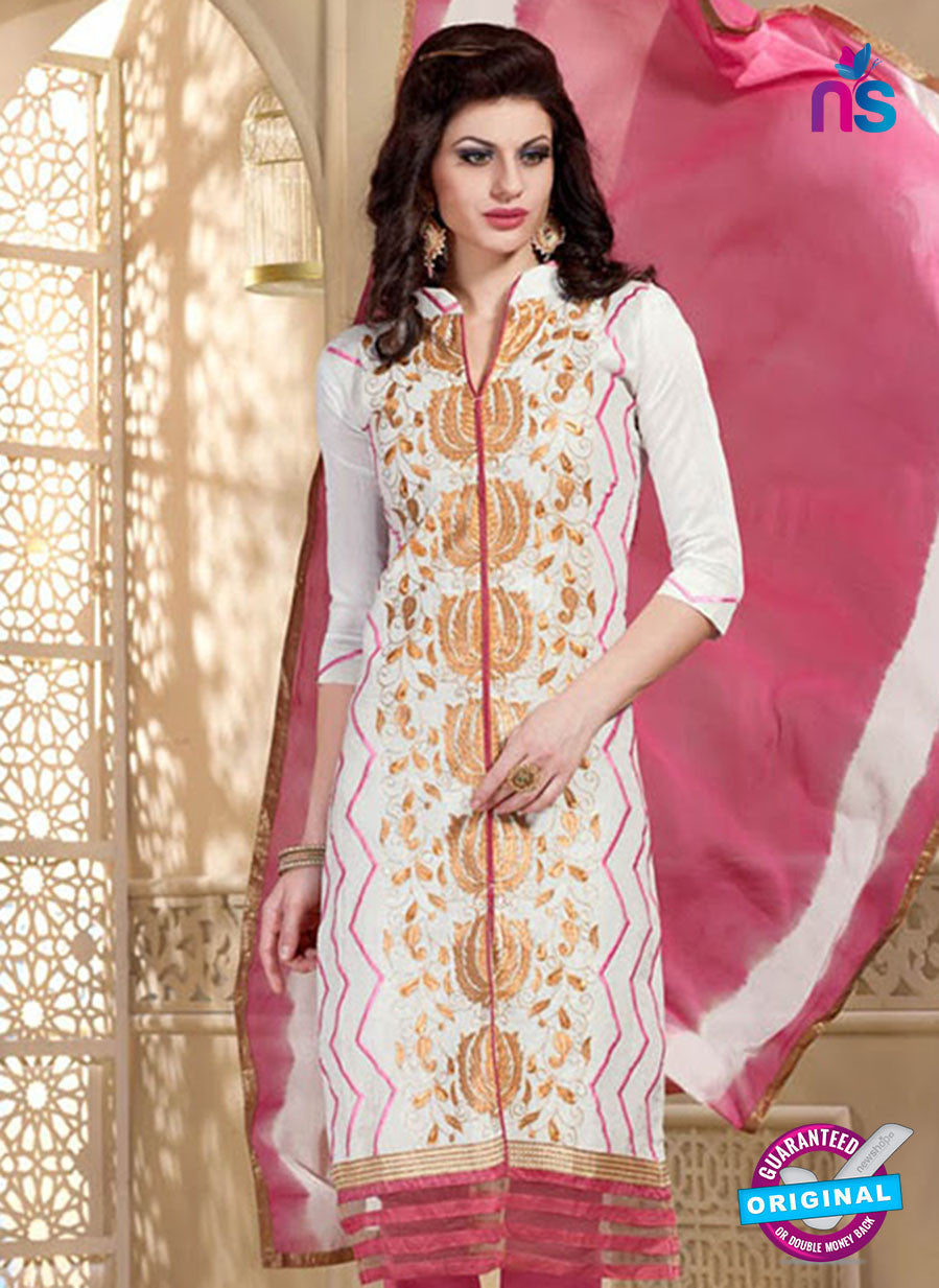 NS11069 White and Pink Chanderi Straight Suit
