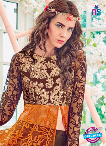 Jinaam 4011 Brown and Yellow Brasso Embroidery Party Wear Suit Online