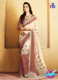 NS11921  Brown and Cream Chiffon Saree