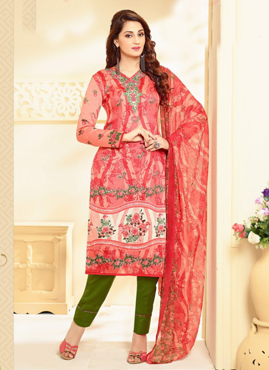 Velly 4011  Peach & Green Color Glace Cotton Designer Suit