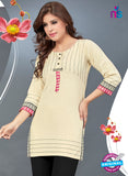 SC 13776 Beige Cotton Exclusive Fancy Semi Stitched Kurti