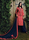 Ganga 4011 Red & Blue Color Glace Cotton Designer Suit