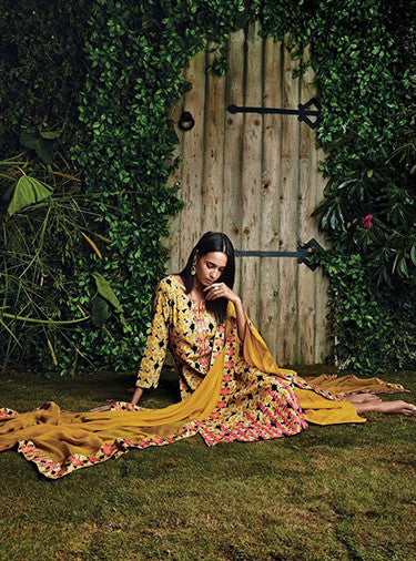 Ganga 4012 Yellow Color Glace Cotton Designer Suit