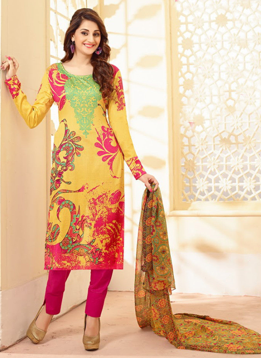 Velly 4012  Pink & Yellow Color Glace Cotton Designer Suit