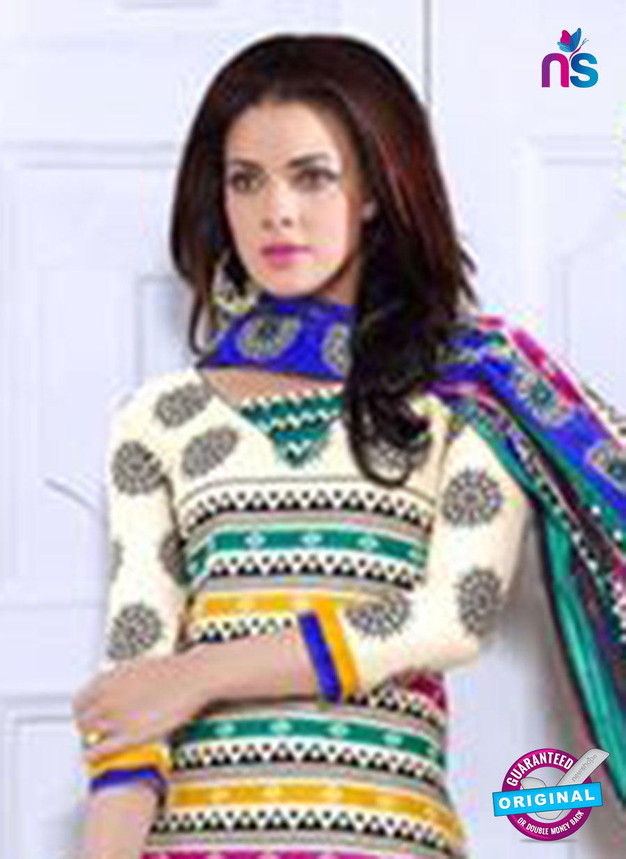 NS10079 Greem and Multicolor Cotton Suit