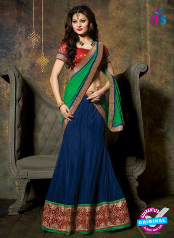 SC 13608 Blue and Maroon Net Embroidered Lahenga Choli