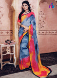 NS11211 Slate Blue and DeepOrange Daily Wear Printed Cotton Saree