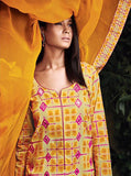 Ganga 4014 Yellow Color Glace Cotton Designer Suit