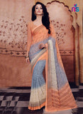 NS11212 Orange and Slate Blue Daily Wear Printed Cotton Saree
