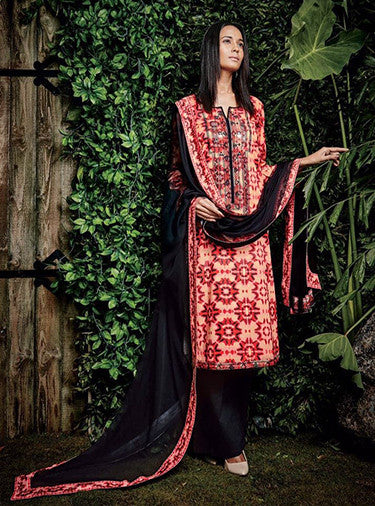 Ganga 4016 Red & Black Color Glace Cotton Designer Suit