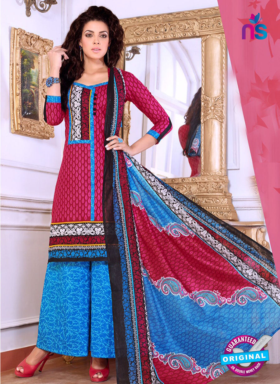 NS10081 Pink and Blue Cotton Suit