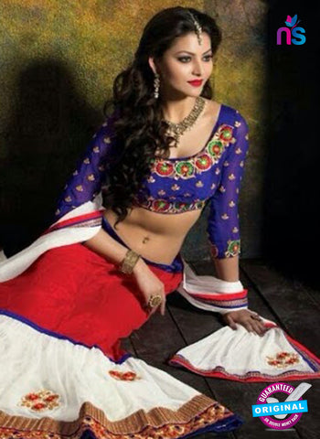 SC 13609 Blue, Red and White Net Embroidered Lahenga Choli