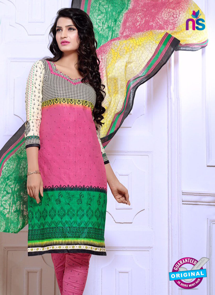 NS10082 Gray, Pink and Green Cotton Suit