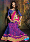 SC 13607 Blue and Pink Net Embroidered Lahenga Choli