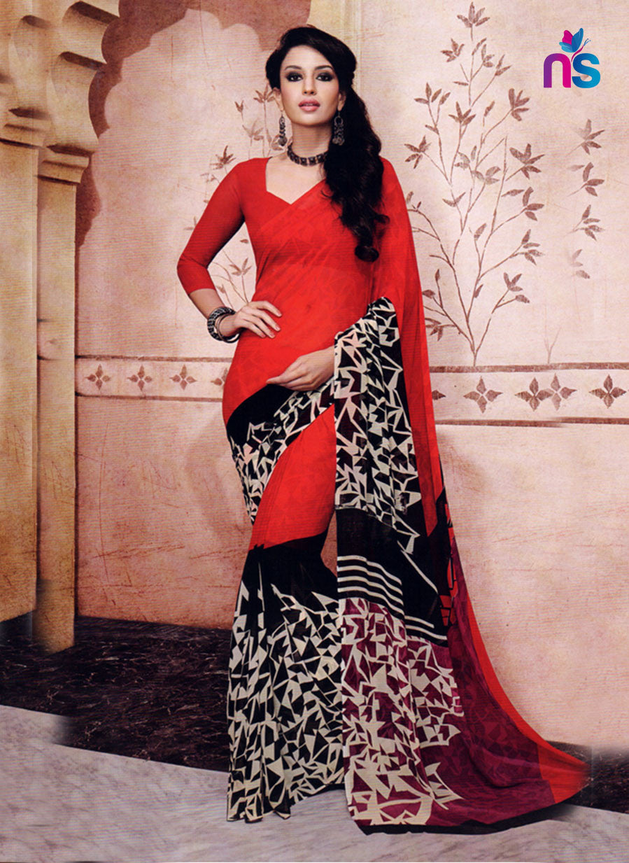 NS11213 Red and Black Daily Wear Printed Cotton Saree