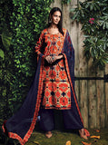 Ganga 4019 Orange & Purple Color Glace Cotton Designer Suit